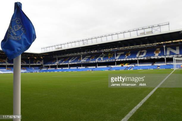 A general view of Goodison Park home stadium of Everton during the Premier League match between Everton FC and Manchester City at Goodison Park on...