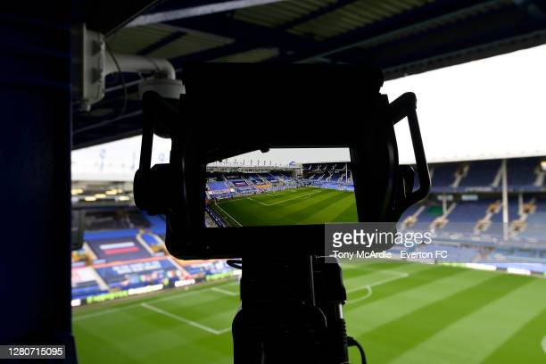 General view of Goodison Park through a television camera before the Premier League match between Everton and Liverpool at Goodison Park on October...