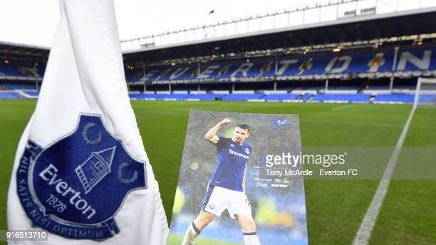 A general view of Goodison Park with the match day programme before the Premier League match between Everton and Crystal Palace at Goodison Park on...