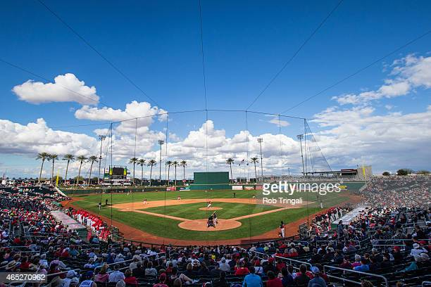 General view of Goodyear Ballpark during a spring training game between the Cincinnati Reds and the Cleveland Indians at Goodyear Ballpark on March...