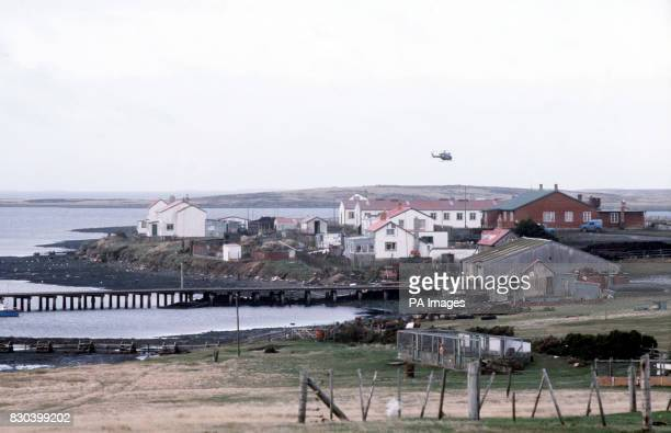 A general view of Goose Green the East Falkland settlement which was recaptured from Argentine forces by paratroopers from the British Falklands Task...