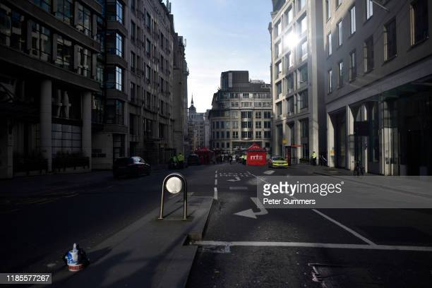 A general view of Gracechurch Street following yesterday's London Bridge stabbing attack as investigations continue on November 30 2019 in London...
