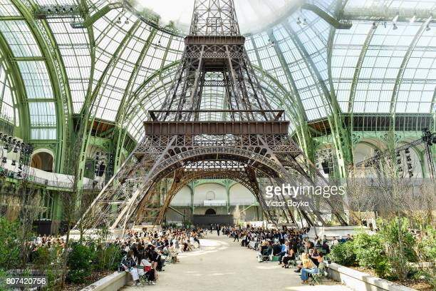 A general view of Grand Palais with the Eiffel tower during the Chanel Haute Couture Fall/Winter 20172018 show as part of Haute Couture Paris Fashion...