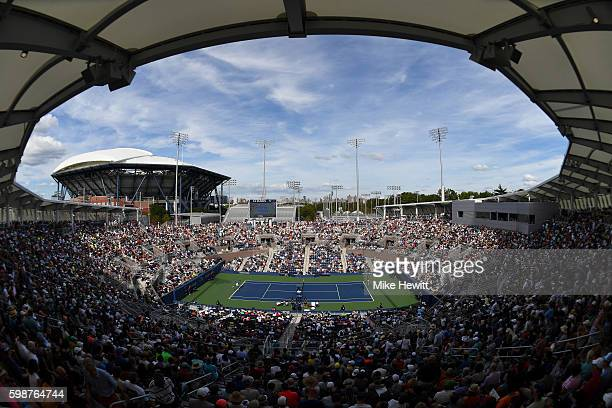 General view of Grandstand during the third round Men's Singles match between Gael Monfils of France and Nicolas Almagro of Spain on Day Five of the...