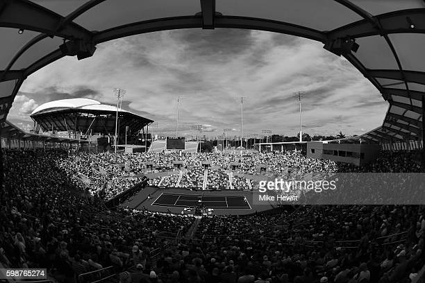 A general view of Grandstand during the third round Men's Singles match between Gael Monfils of France and Nicolas Almagro of Spain on Day Five of...
