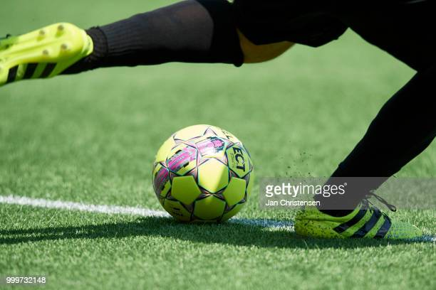 General view of grass ball and soccer boots during the Danish Superliga match between FC Nordsjalland and Esbjerg fB at Right to Dream Park on July...