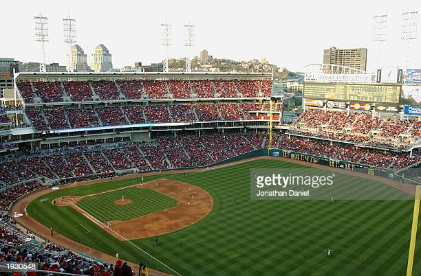 General view of Great American Ball Park stadium during the Cincinnati Reds home opening game against the Pittsburgh Pirates at Great American Ball...