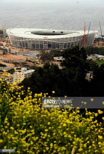 AFRICA SEPTEMBER 24 A general view of Green Point Stadium in its final stages of construction on September 24 2009 ahead of the 2010 FIFA Soccer...