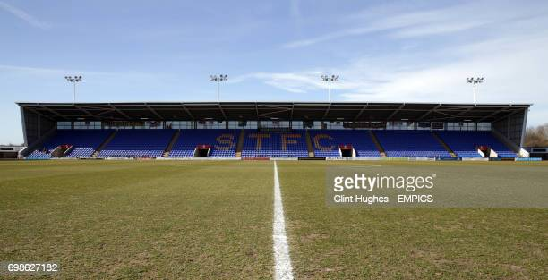 A general view of Greenhous Meadow home of Shrewsbury Town FC