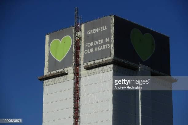 A general view of Grenfell Tower where a severe fire killed 72 people in June 2017 on April 23 2020 in London England The British government has...