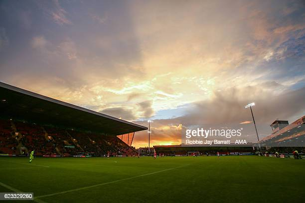 General view of Gresty Road, Alexandra Stadium, home stadium of Crewe Alexandra at dusk during the Sky Bet League Two match between Crewe Alexandra v...
