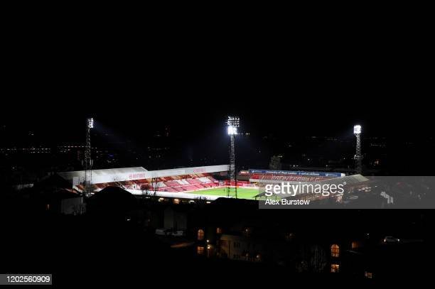 A general view of Griffin Park from a nearby block of flats ahead of the Sky Bet Championship match between Brentford FC and Nottingham Forest at...