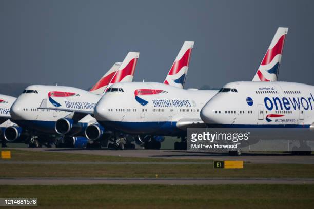 A general view of grounded British Airways planes at Cardiff Airport on March 25 2020 in Cardiff United Kingdom The Coronavirus pandemic has spread...