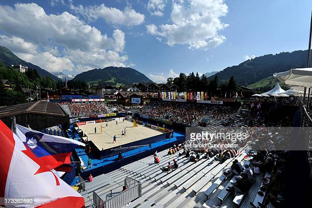 A general view of Gstaad and its central court during the BrouwerMeeuwsen v FijalekPrudel game as part of the FIVB Gstaad Grand Slam fourth day on...