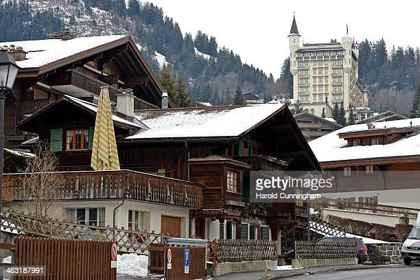 General view of Gstaad and the Gstaad Palace on January 16, 2014 in Gstaad, Switzerland.