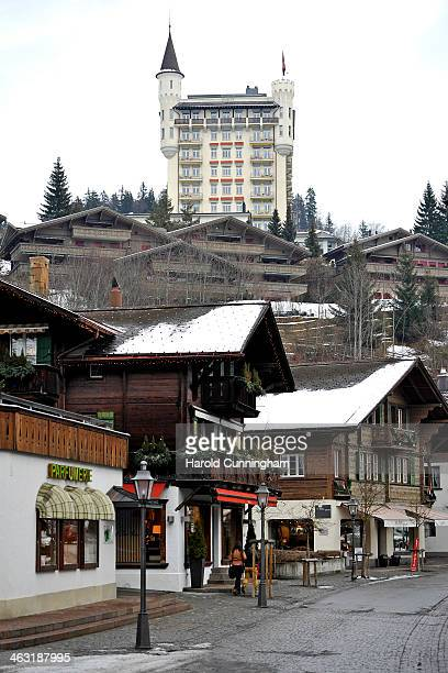 A general view of Gstaad and the Gstaad Palace on January 16 2014 in Gstaad Switzerland