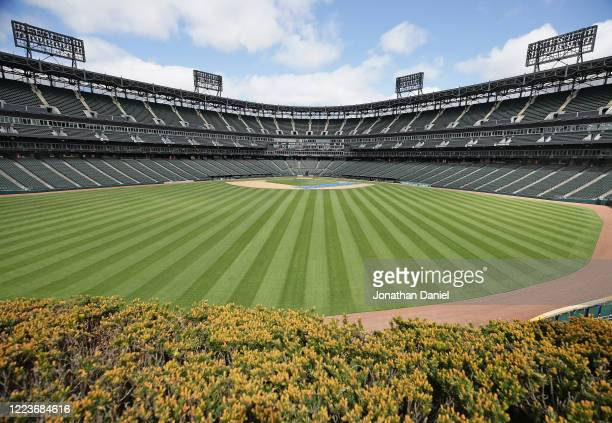 General view of Guaranteed Rate Feld, home of the Chicago White Sox, on May 08, 2020 in Chicago, Illinois. The 2020 Major League Baseball season is...