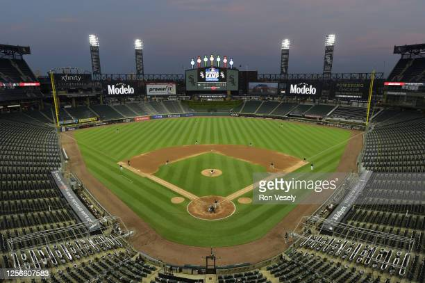 General view of Guaranteed Rate Field during a summer workout intrasquad game as part of Major League Baseball Spring Training 2.0 on July 16, 2020...