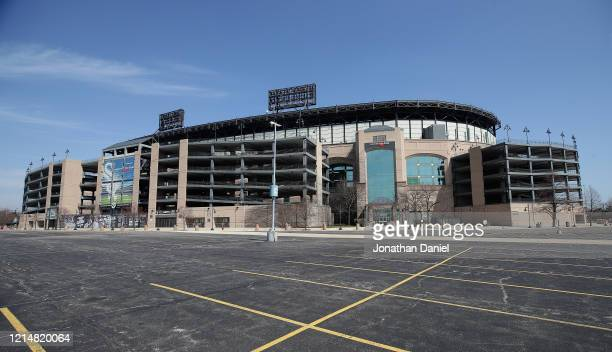 A general view of Guaranteed Rate Field where the Chicago White Sox were scheduled to open the season tomorrow against the Kansas City Royals on...