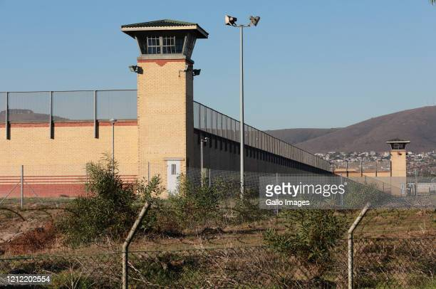 General view of guard towers at the Goodwood prison on May 08, 2020 in Cape Town, South Africa. It is reported that offenders who committed petty...