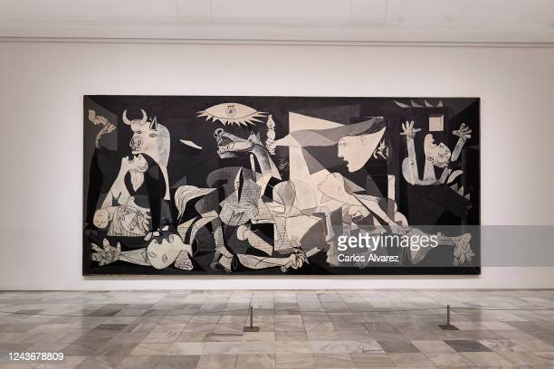 General view of 'Guernica' by Pablo Picasso at the Reina Sofia Museum during a press preview before its reopening to the public, during the...