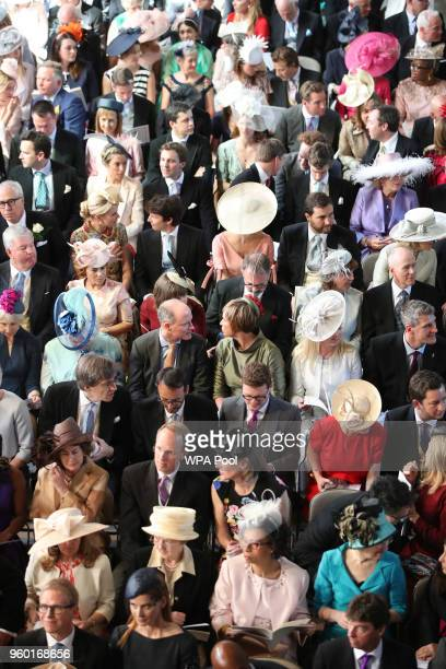 A general view of guests as they take their seats in St George's Chapel at Windsor Castle for the wedding of Prince Harry and Meghan Markle on May 19...