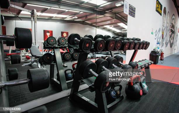 General view of gym equipment recently installed at a Shore Mixed Martial Arts Fitnesses suite on November 02, 2019 in Abertillery, Wales. Gymnasiums...