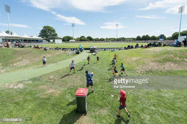 General view of Hagley Oval as children play backyard Cricket during day two of the Second Test match in the series between New Zealand and Pakistan...
