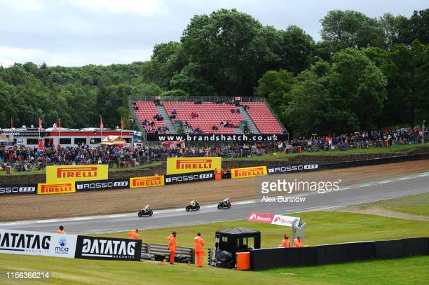 General view of Hailwoods Hill during the Pirelli National Superstock 1000 Championship race at Brands Hatch on June 16 2019 in Longfield England
