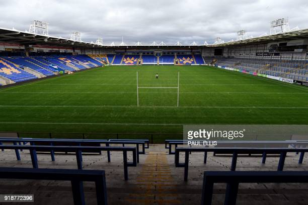 """General view of Halliwell Jones Stadium, home of Warrington Wolves who participate in the innovative """"Offload"""" programme to boost men's mental..."""