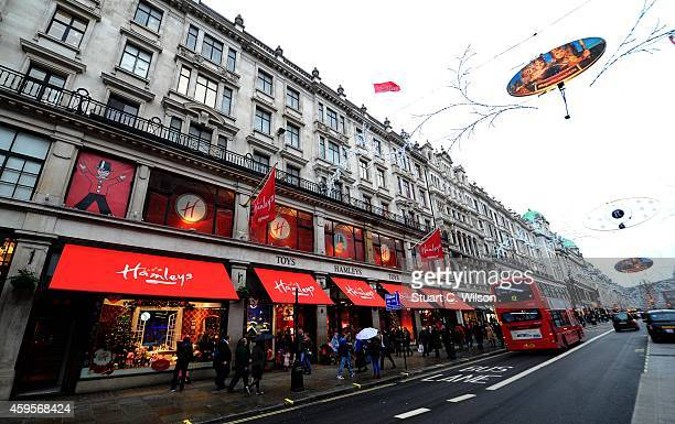 A general view of Hamleys Toy Store in Regent Street during the Christmas Shopping period on November 25 2014 in London England