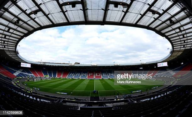 General view of Hampden Park stadium prior to the Scottish Cup semi-final between Aberdeen and Celtic at Hampden Park on April 14, 2019 in Glasgow,...