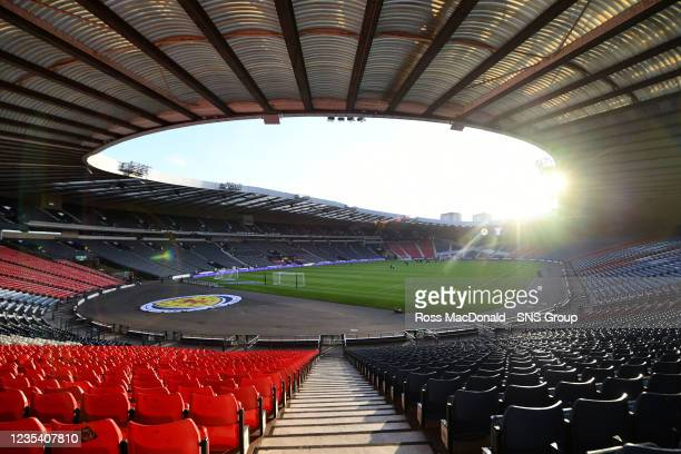 General view of Hampden Stadium ahead of kick off during a FIFA World Cup Qualifier between Scotland and Faroe Islands at Hampden Park on September...