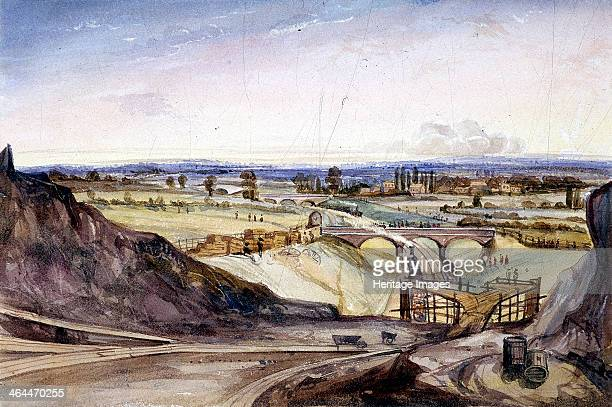 General view of Hampstead London 1837 showing the London and Birmingham Railway from the end of the Primrose Hill Tunnel looking towards Kilburn