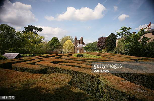 General view of Hampton Court maze in the spring sunshine on May 2, 2009 in London, England. The Hampton Court maze is one of the most famous hedge...
