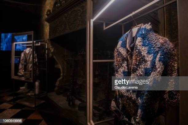 General view of handcrafted cardigans during Brunello Cucinelli Evento Opera presso Museo Bagatti Valsecchi on November 9 2018 in Milan Italy