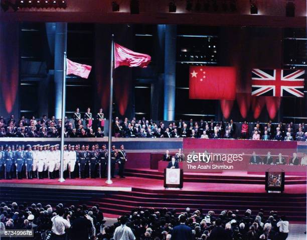 A general view of Handover ceremony is seen on June 30 1997 in Hong Kong