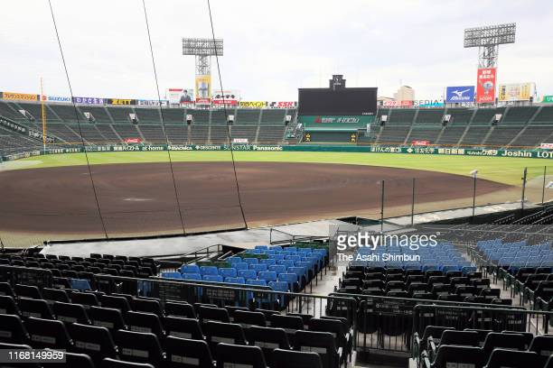 General view of Hanshin Koshien Stadium is seen after all the games are cancelled as Typhoon Krosa approaches to western Japan on August 15, 2019 in...