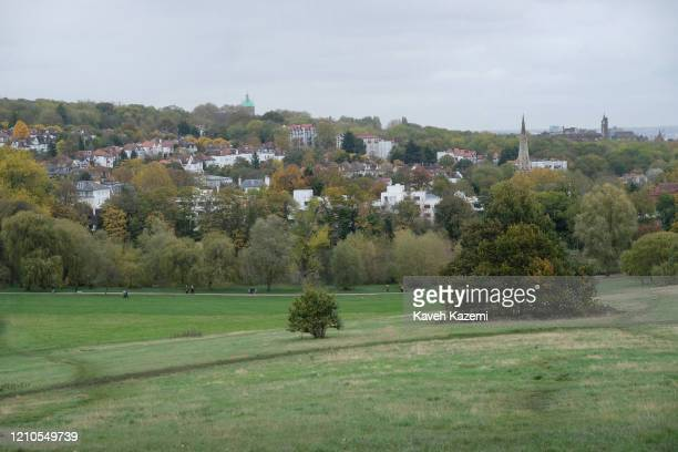 A general view of Hapstead Heath park seen from Parliament Hill on a Sunday on November 3 2019 in London United Kingdom
