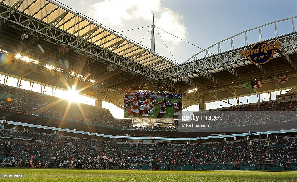 A general view of Hard Rock Stadium during a game between the Miami Dolphins and the New York Jets on November 6, 2016 in Miami Gardens, Florida.