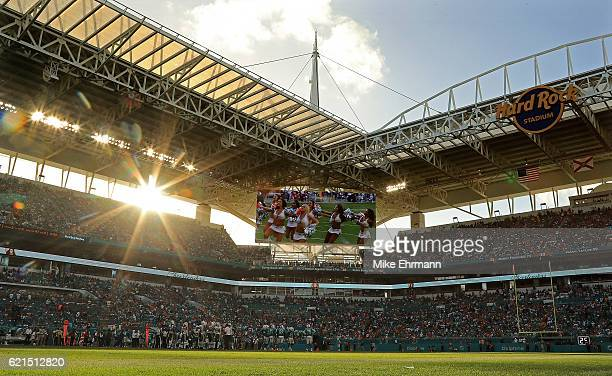 A general view of Hard Rock Stadium during a game between the Miami Dolphins and the New York Jets on November 6 2016 in Miami Gardens Florida