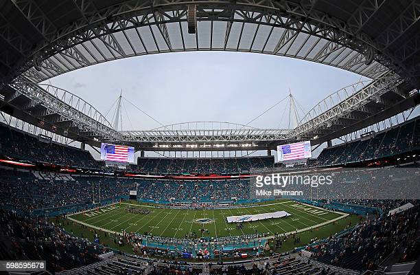 General view of Hard Rock Stadium during a preseason game between the Miami Dolphins and the Tennessee Titans on September 1, 2016 in Miami Gardens,...