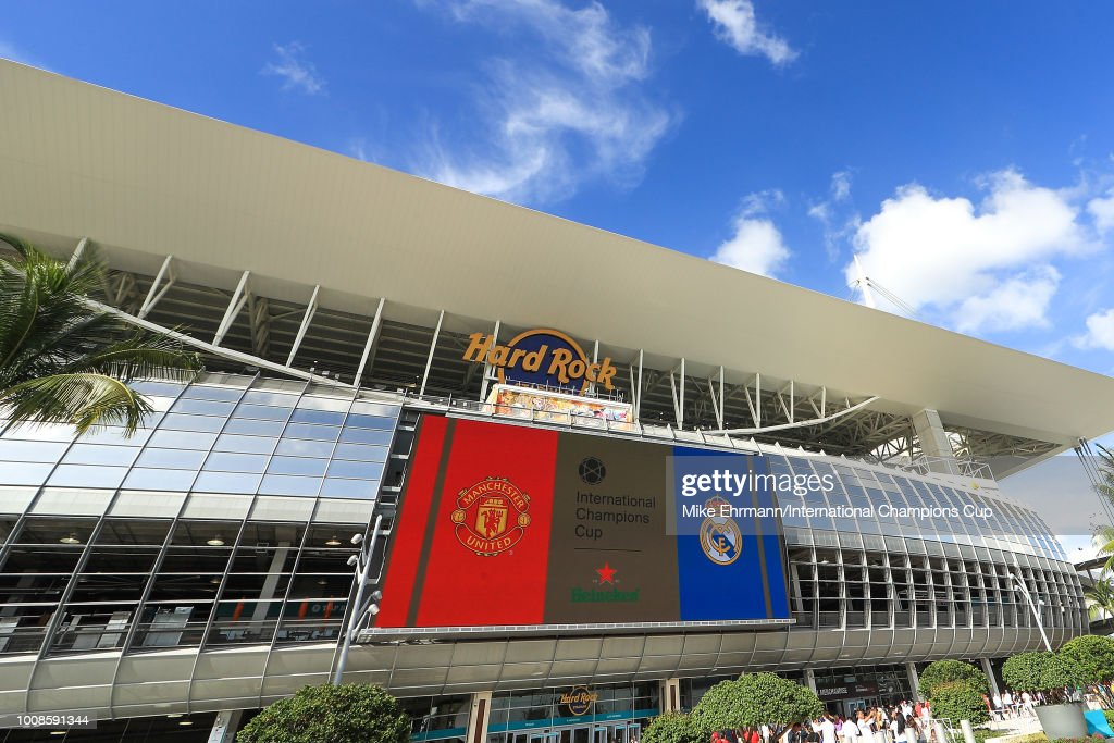 A general view of Hard Rock Stadium prior to the International Champions Cup match between Manchester United and Real Madrid on July 31, 2018 in Miami, Florida.