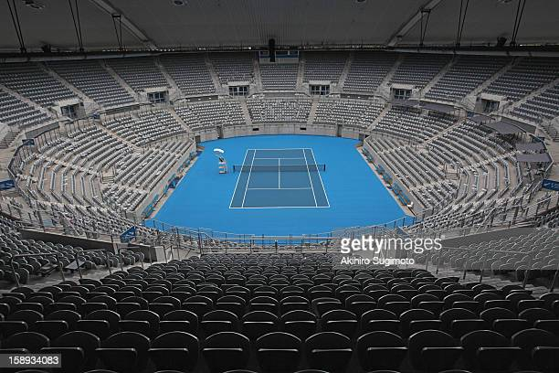 general view of hard tennis court - hardcourt stock photos and pictures