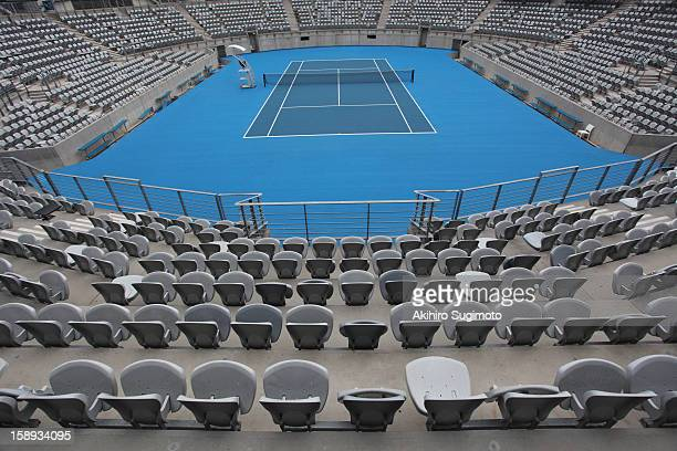 general view of hard tennis court - hardcourt stock pictures, royalty-free photos & images
