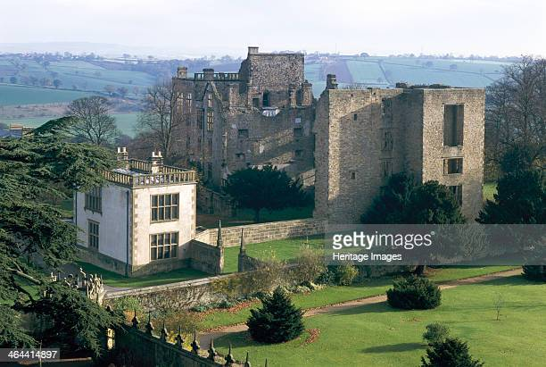 General view of Hardwick Old Hall and the East Lodge from the roof of the New Hall Derbyshire 1997