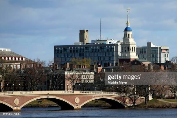 General view of Harvard University campus is seen on April 22, 2020 in Cambridge, Massachusetts. Harvard has fallen under criticism after saying it...