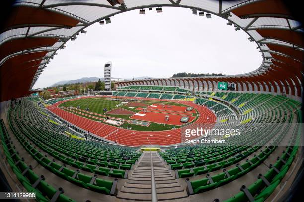 General view of Hayward Field before the Oregon Relays on April 23, 2021 in Eugene, Oregon.