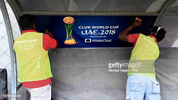 A general view of Hazza bin Zayed Stadium as workmen prepare branding ahead of the FIFA Club World Cup UAE 2018 on December 09 2018 in Al Ain United...