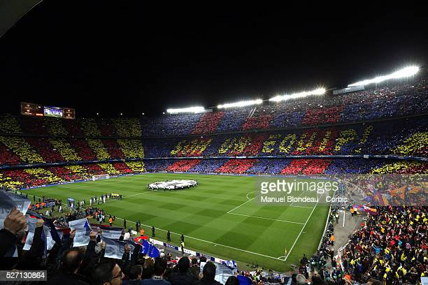 general view of he Camp Nou stadium prior to the UEFA Champions League round of 16 second leg football match between FC Barcelona and AC Milan at the...